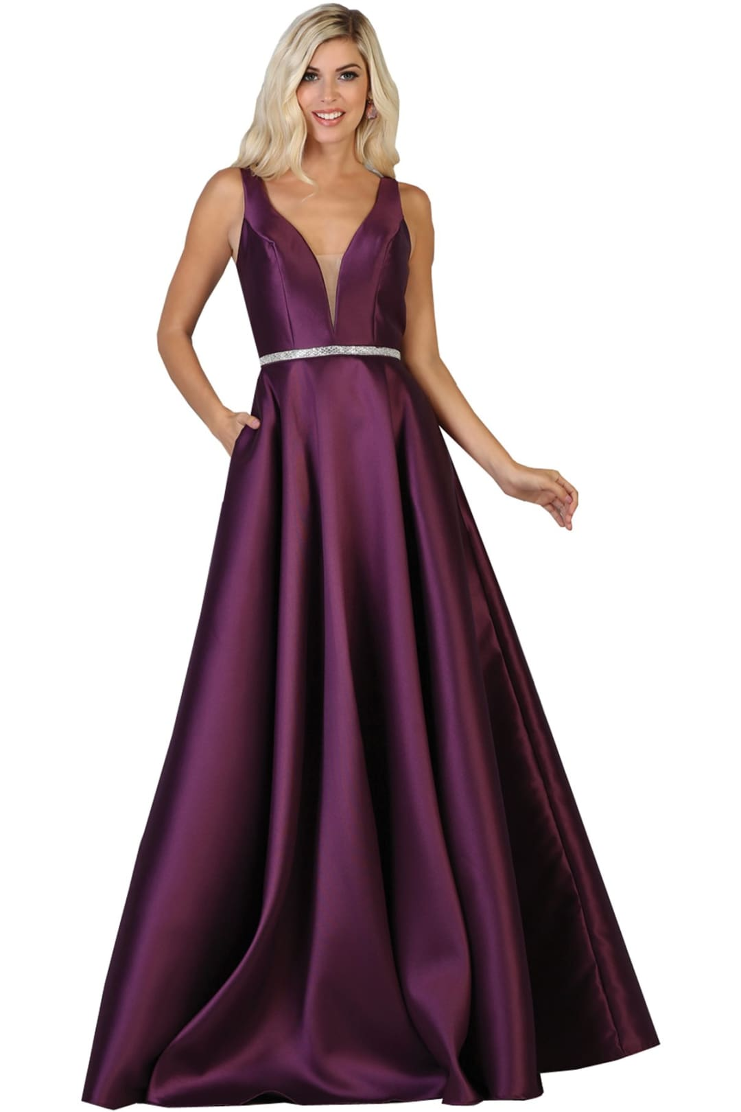 Simple Sleeveless Prom Dress - Eggplant / 4