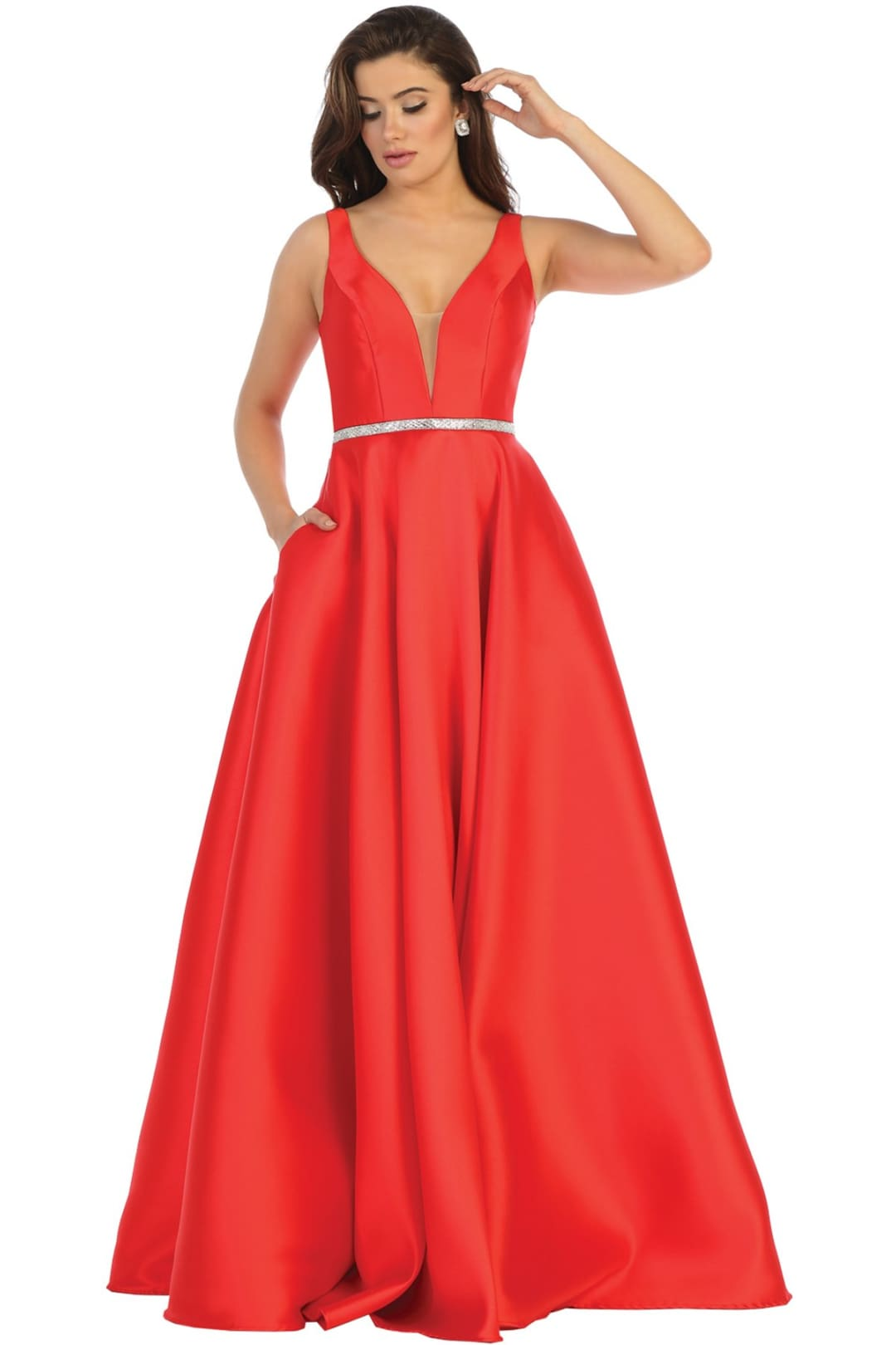 Simple Sleeveless Prom Dress - Red / 4