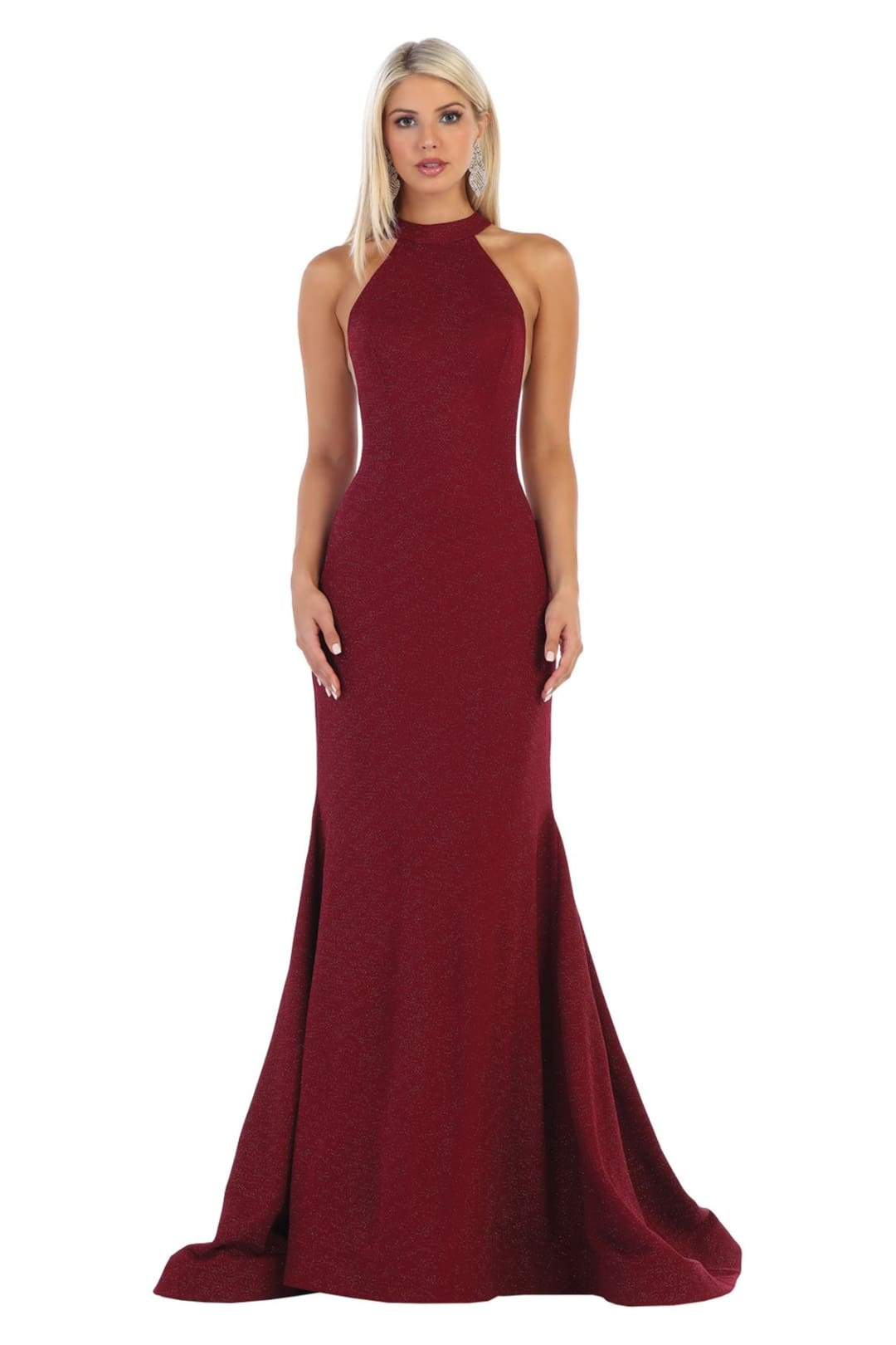 Sleeveless Modern Prom Gown - Burgundy / 2