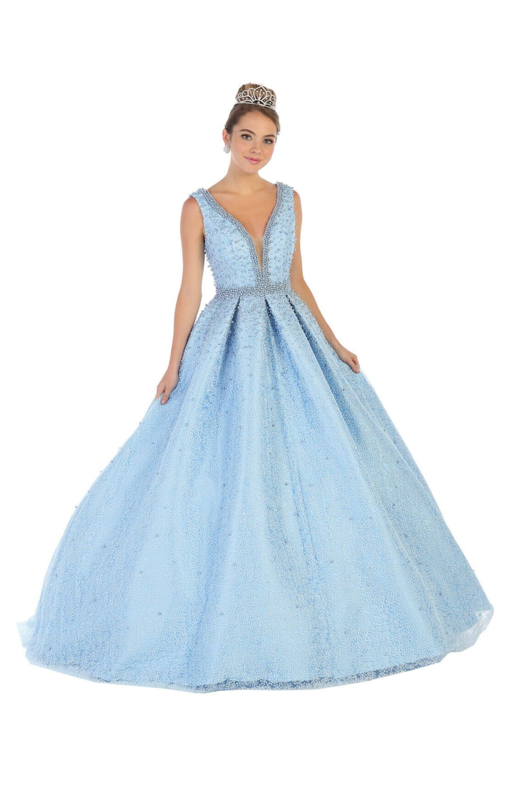 Sleeveless V-Neck Ball Gown - Baby Blue / 4