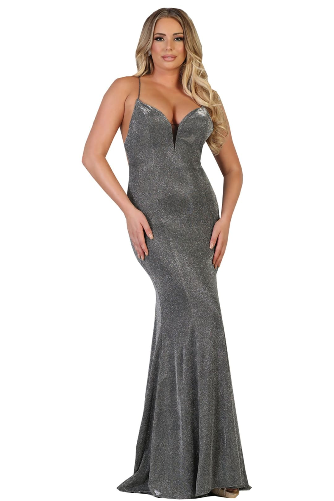 Spaghetti Strap Pageant Gown - Charcoal Gray / 2