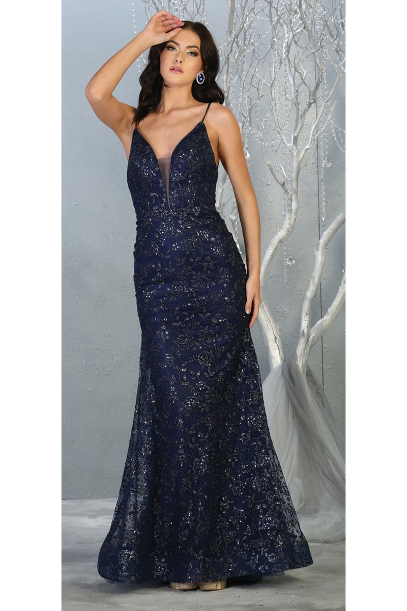 Special Occasion Formal Evening Gown - NAVY BLUE / 4