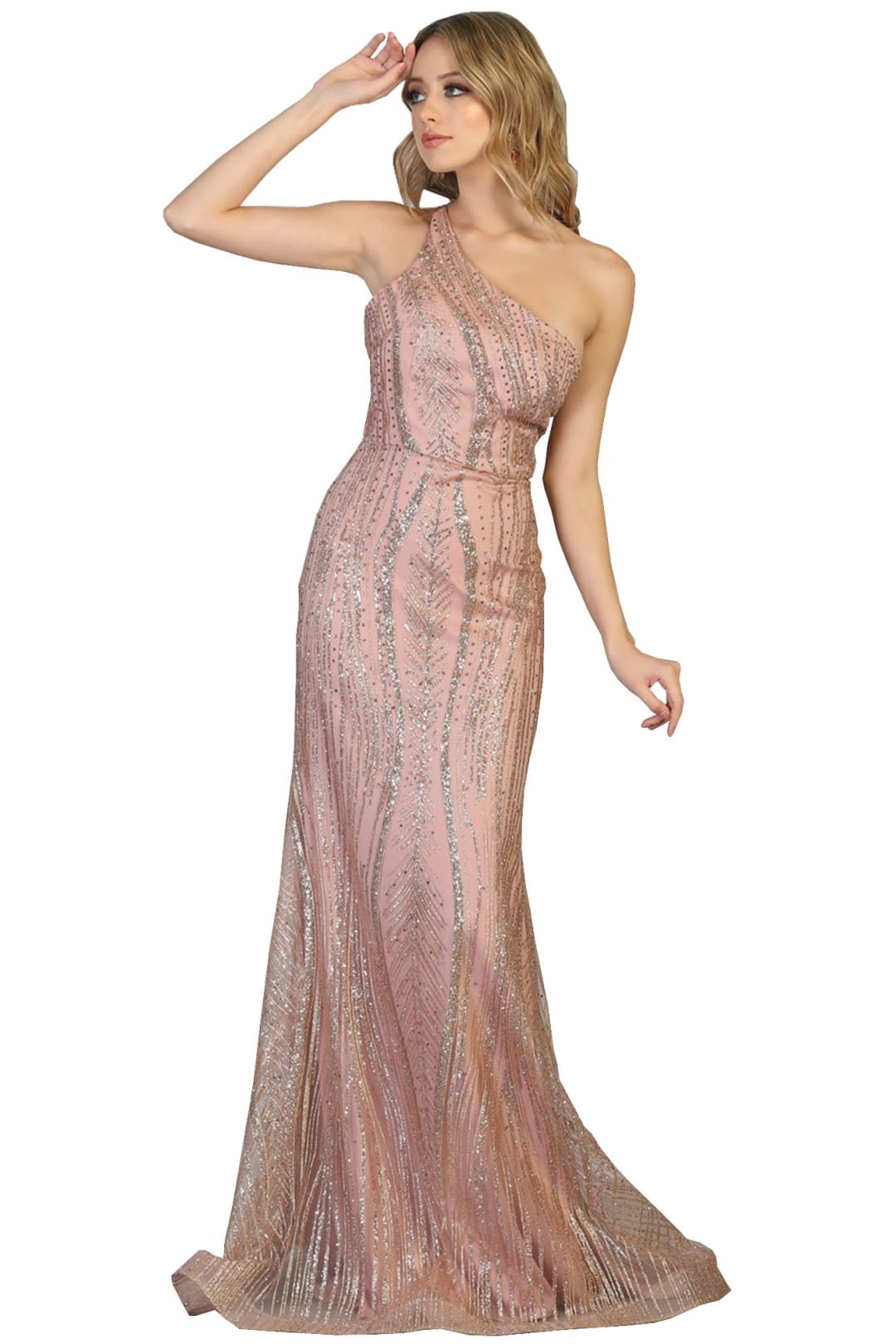 Special Occasion Shiny Dresses - ROSE GOLD / 2