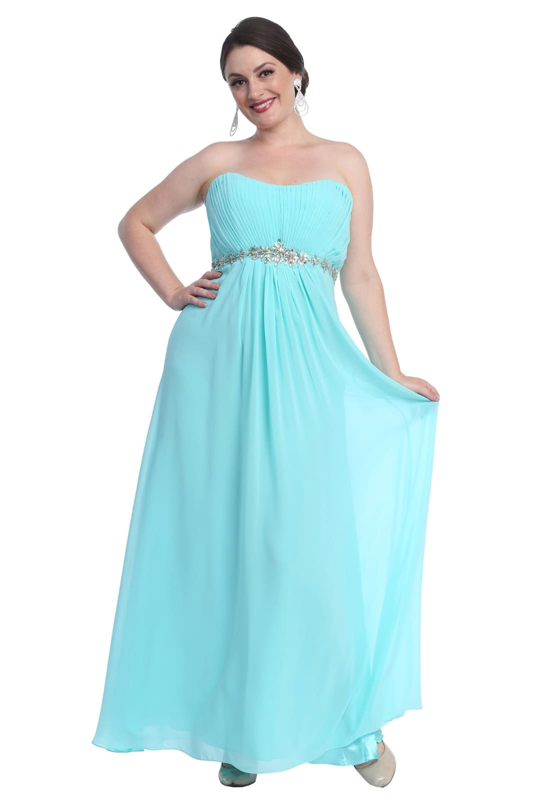 Strapless Evening Gown - Aqua / 4