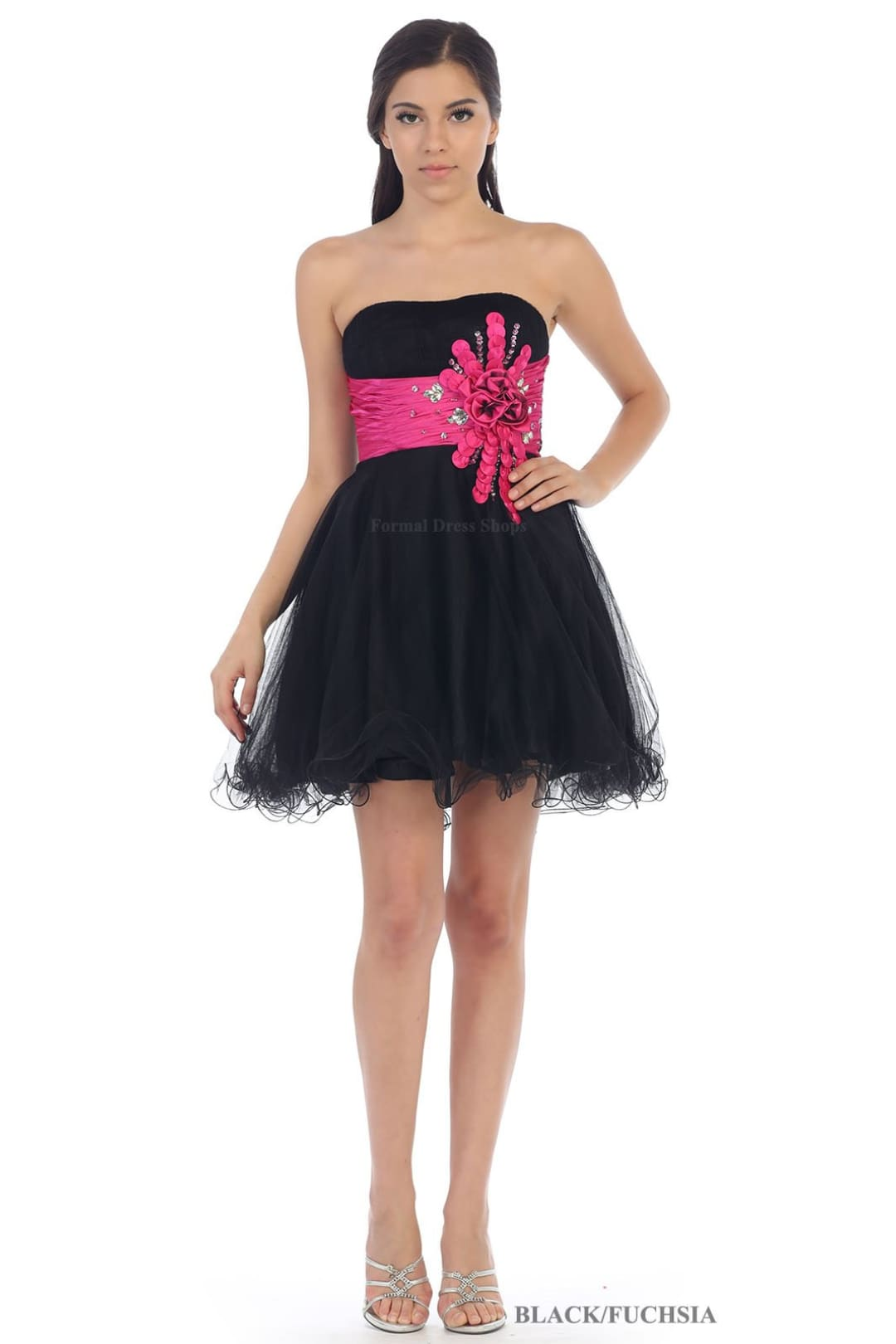 Strapless Homecoming Dress - Black/Fuchsia / 4