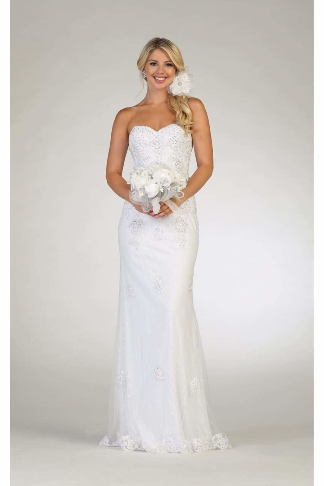 Strapless Wedding Dress - White / 4