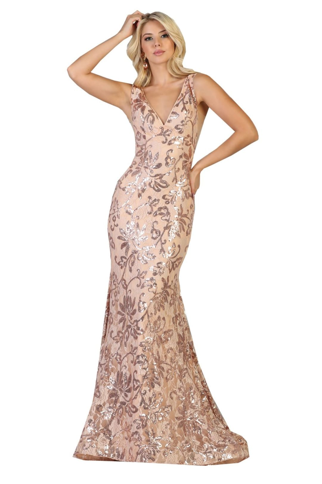 Stretch Long Evening Gown - Gold/Dusty Rose / 4