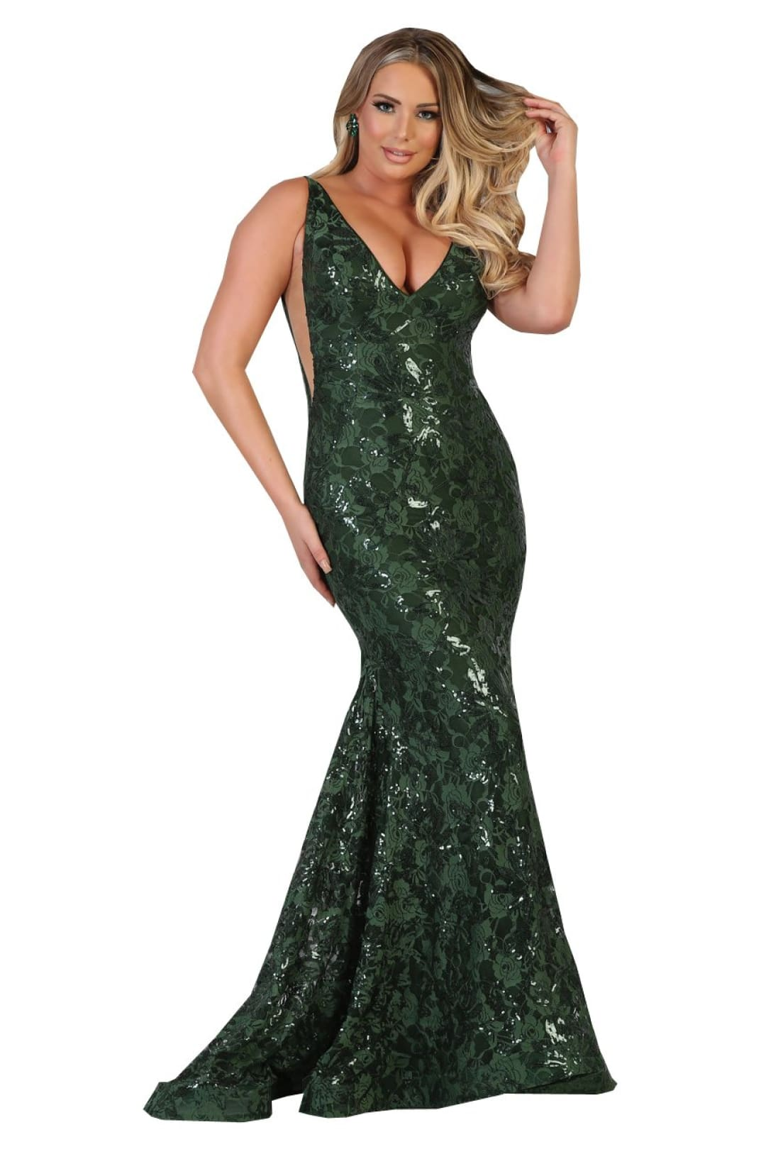 Stretch Long Evening Gown - Hunter Green / 4