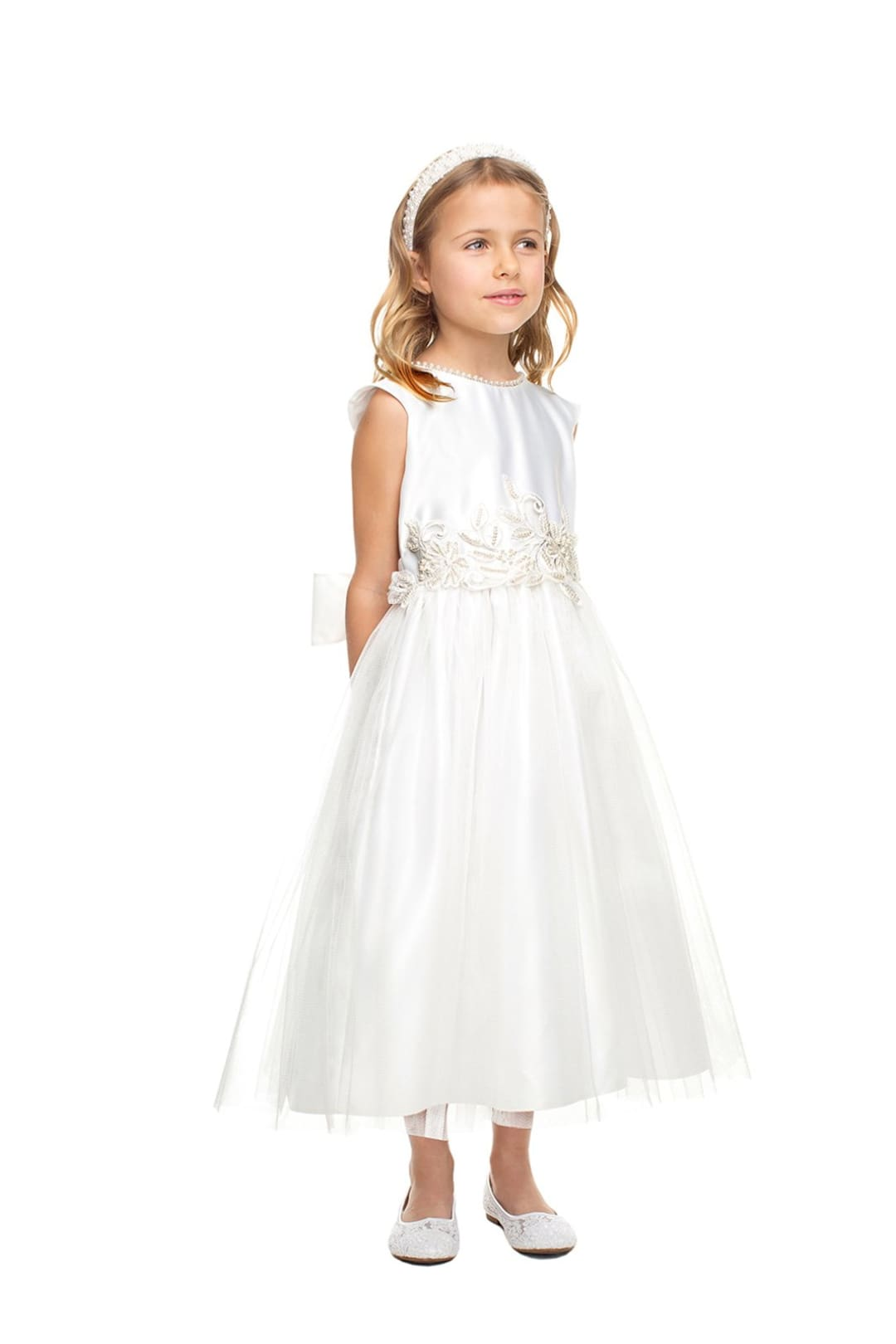 Sweet Flower Girl Pearl Dress - LAK850 - White / 2