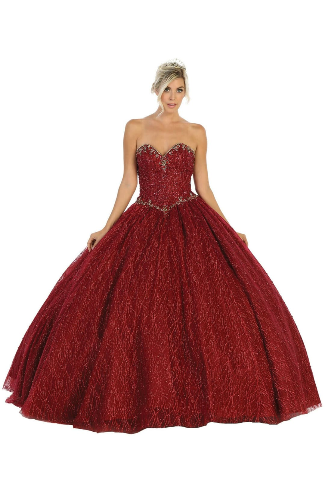 Sweetheart Ball Gown - Burgundy / 2