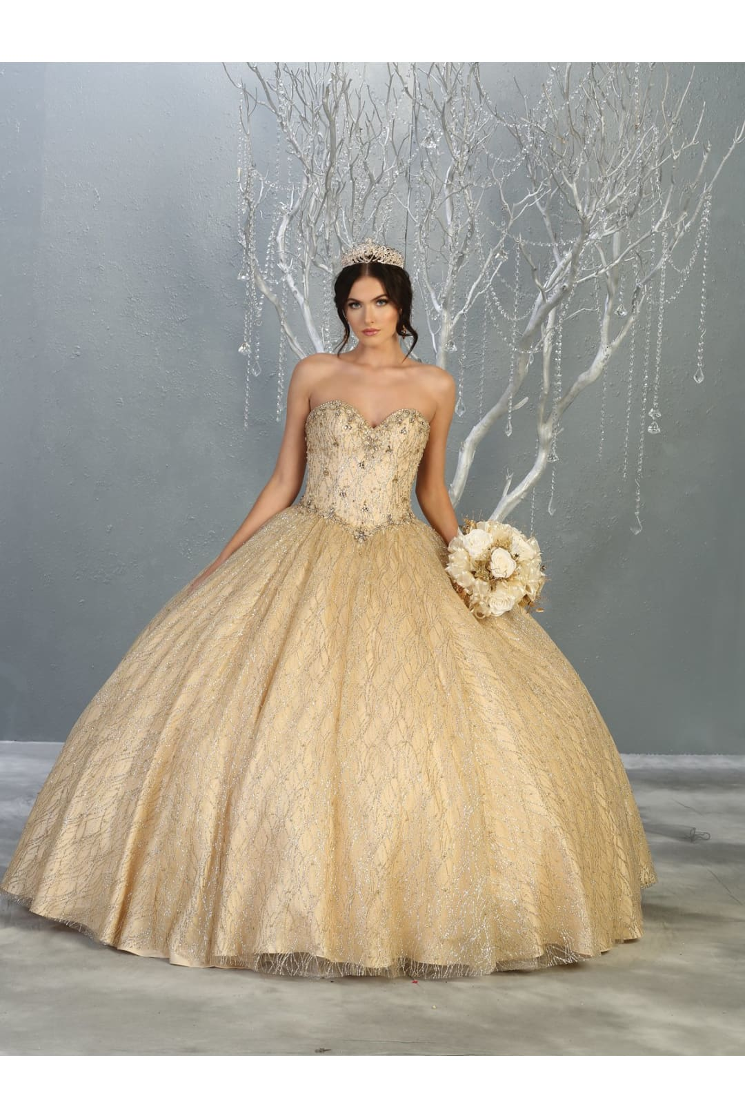 Sweetheart Ball Gown - Champagne/Gold / 2
