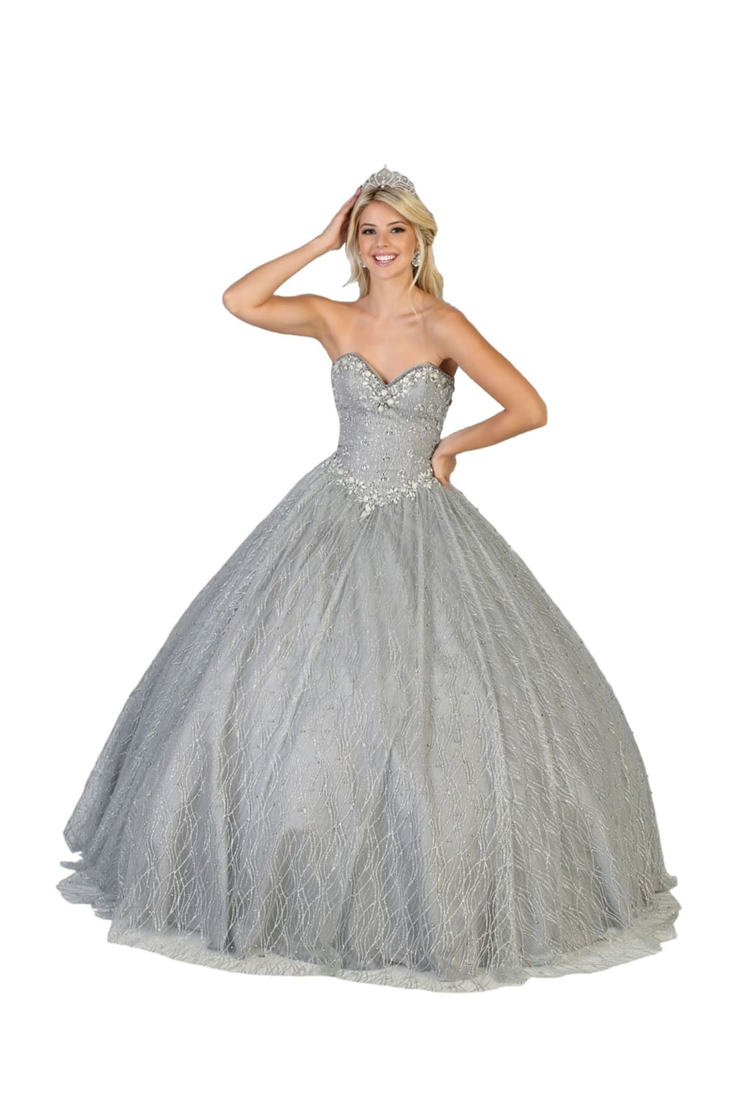 Sweetheart Ball Gown - Silver / 2