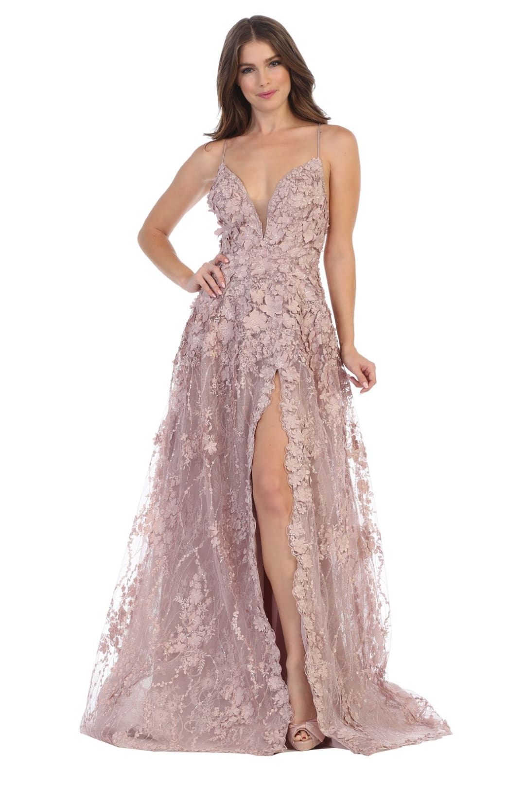 Thigh High Slit Prom Dress - Mauve / 2