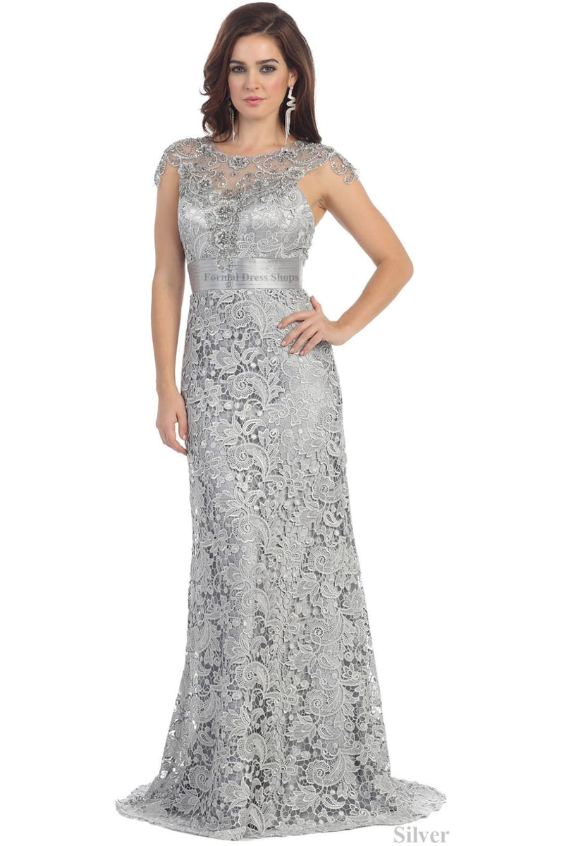 Unique Wedding Guest Gown - Silver / 6