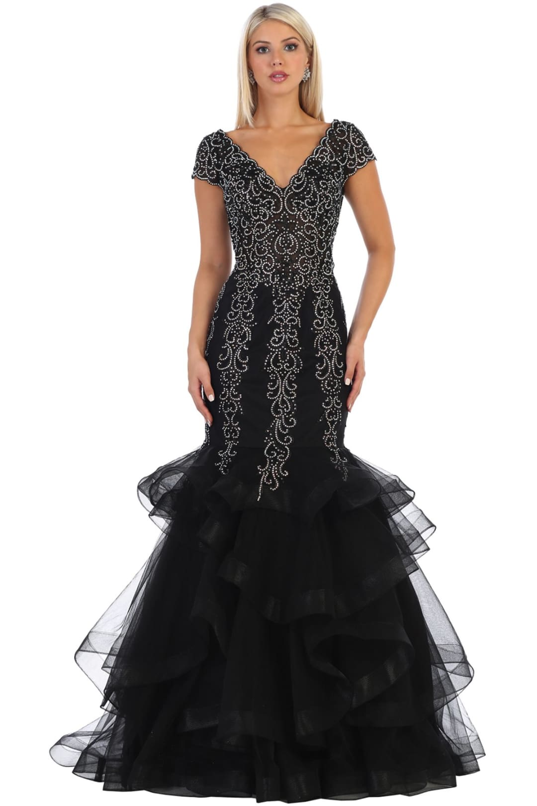 V-Neck Mermaid Prom Dress - Black / 4