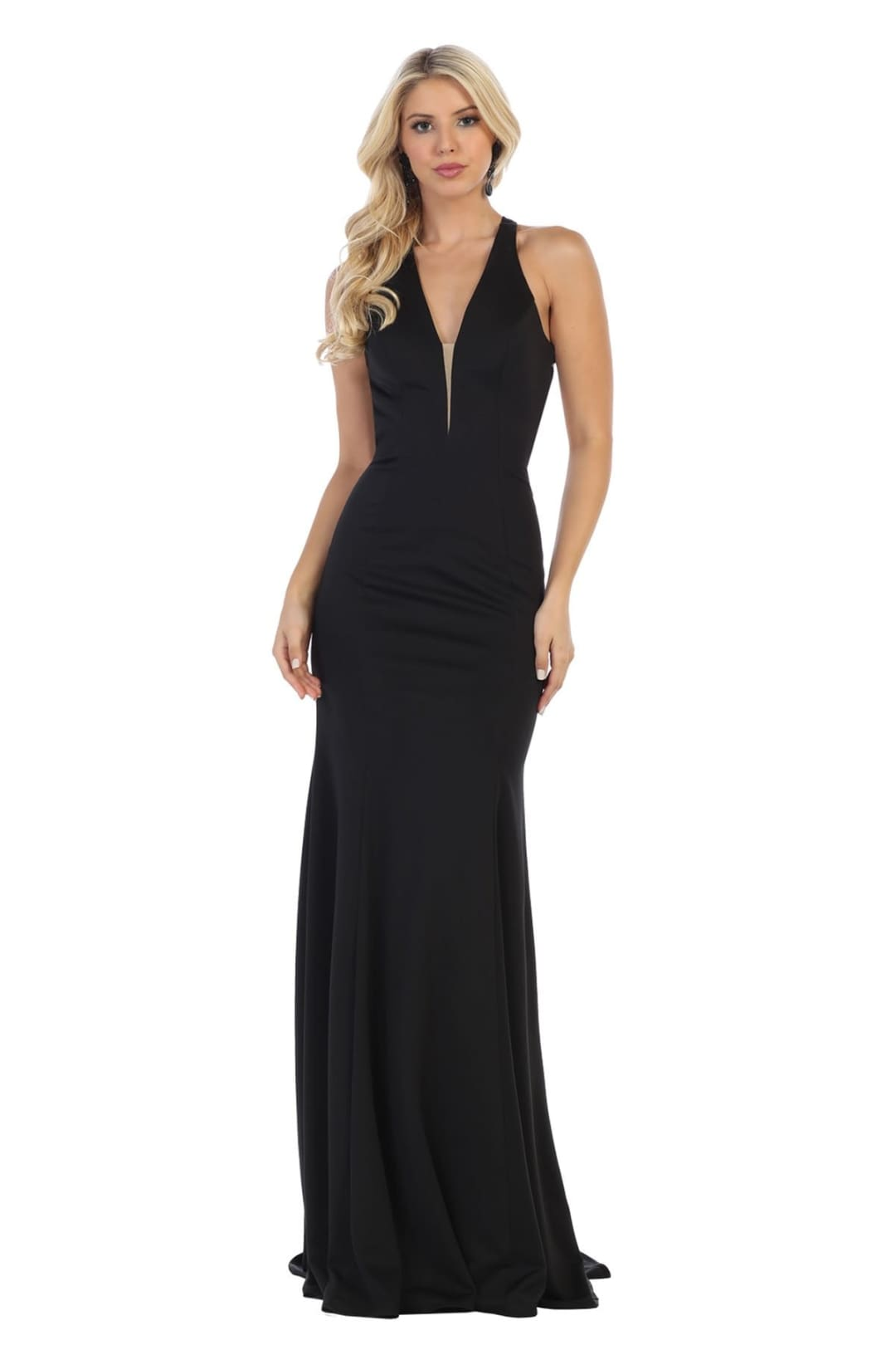V-Neckline Prom Dress - Black / 2