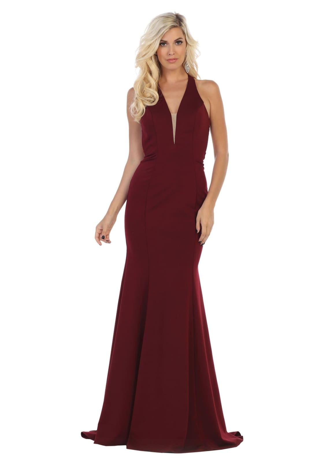 V-Neckline Prom Dress - Burgundy / 2