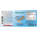 Zinc Elderberry Vitamin C Liquid Supplement Label