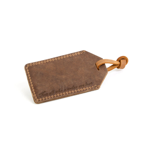 """Not All Who Wander Are Lost"" Leather Luggage Tag"