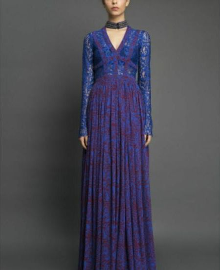 Sapphire Printed Long Sleeve Lace Dress