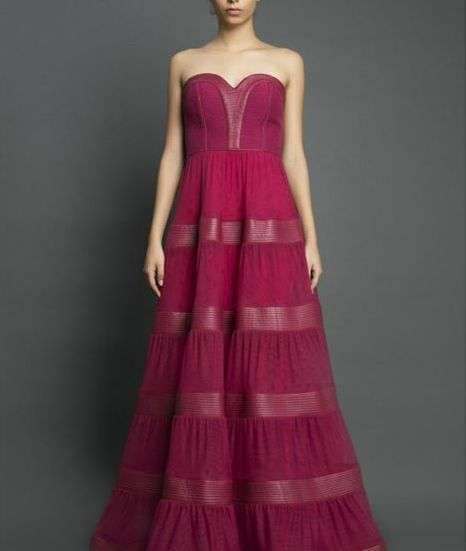Ruby Red Strapless Leather and Net Gown