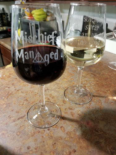 Mischief Managed Wine Glass