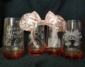 Disney Inspired Rose Gold Drinking Glass Set