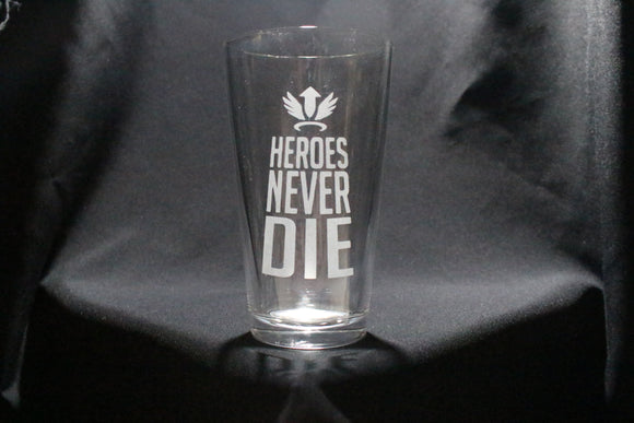 Heroes Never Die Mercy Inspired Pint Glass