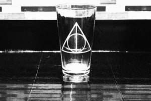 Harry Potter Deathly Hollows Inspired Pint Glass