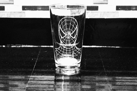 Spiderman  Inspired Pint Glass