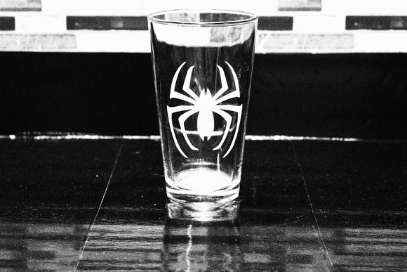Spiderman Logo Inspired Pint Glass