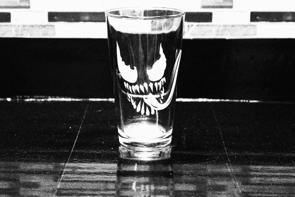 Venom Inspired Silhouette Pint Glass