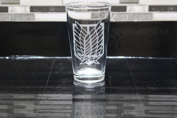 Attack on Tian Inspired  Pint Glass