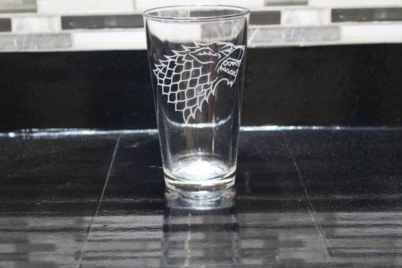 Stark Game Of Thrones Inspired Direwolf Pint Glass
