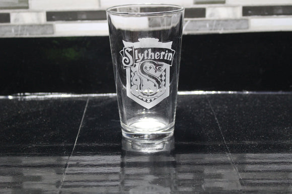 Slytherin Inspired Pint Glass