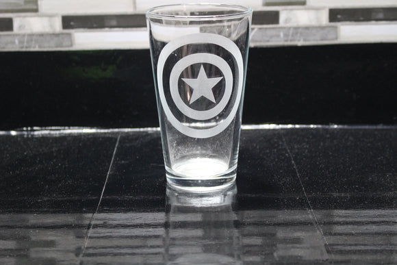 Captain America Inspired Shield Pint Glass