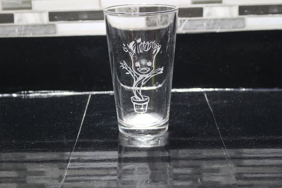 Baby Groot Inspired Pint Glass