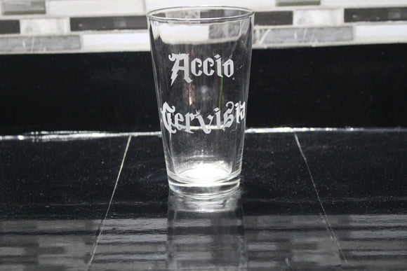 Accio Cervisia Harry Potter  Inspired Pint Glass