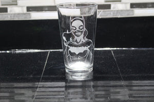 Batgirl Inspired Pint Glass