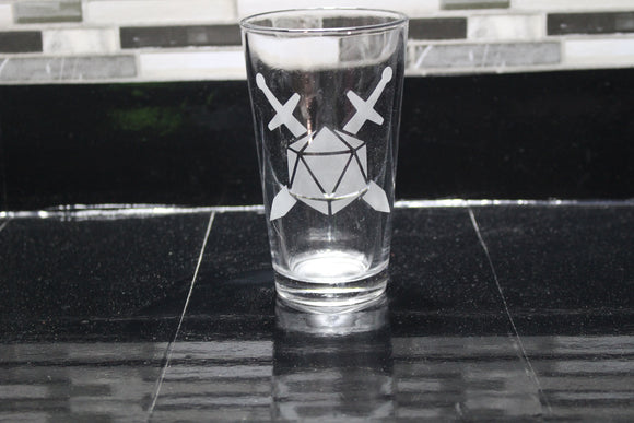 D20 Sword Inspired Pint Glass