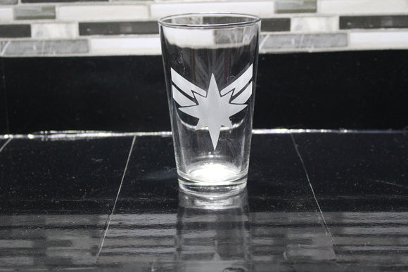 Captain Marvel Crest Inspired Pint Glass