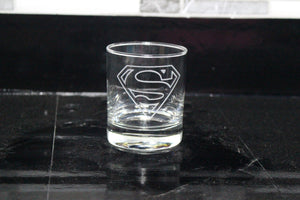 Superman Logo Rocks Glass