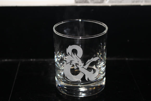 Dungeons and Dragons ampersand Rocks Glass
