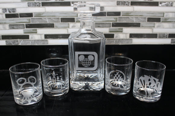 Disney Parks inspired Decanter Set