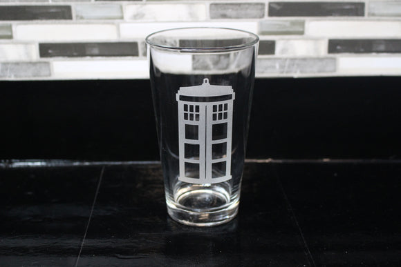 Police Box Tardis Inspired Pint Glass