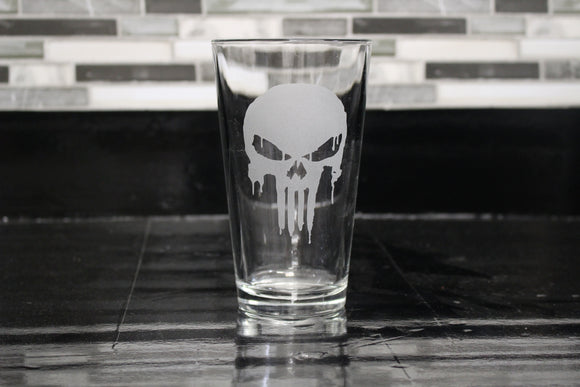 Punisher Inspired Pint Glass