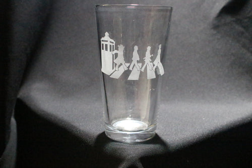 Doctors Walking Abbey Road Dr. Who Inspired Pint Glass