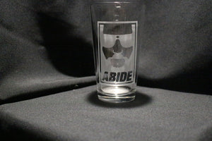 Big Lebowski Dude Abides Inspired Pint Glass