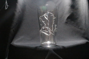 Belle and Beast Inspired Pint Glass