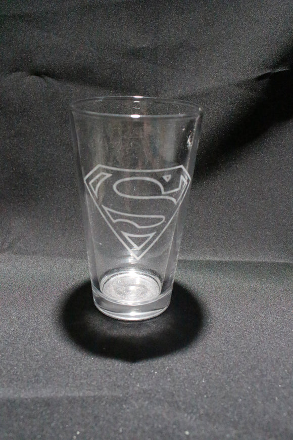 Superman Inspired Pint Glass